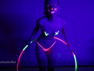 DestinationKat Dances and Hula Hoops Under A Black Light