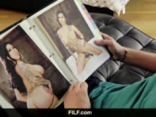 FILF - Lily Lane catches StepSon jerking on her nude photos