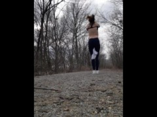 Topless nude titties out on a bike trail