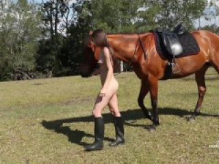 Angela - Nude Horse Riding